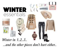 """Winter Essentials  - Winter in 1, 2, 3"" by qt-niki ❤ liked on Polyvore featuring Sole Society, Burberry, Balmain, John Lewis, MICHAEL Michael Kors, Kate Spade, Olivia Burton, Elizabeth Arden, DevaCurl and Clinique"