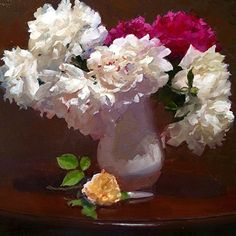 "Paeonia Proliferation by Dennis Perrin Oil ~ 24"" x 24"" No one can paint peonies like he can!"