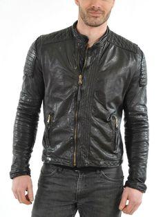 SleekHides Mens Fashion Red Flame Real Leather Brando Style Jacket Cow Black Large