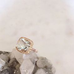 Soft green amethyst set in classic rose gold - this beautiful bespoke cocktail ring just arrived in store and we're in love  for enquiries about our fine and bespoke collection email hello@zoeandmorgan.com #bespoke #zoeandmorgan