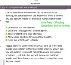 Finding Questions Worth Asking - Reggio