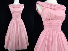1950s Jr Theme Pink Chiffon Dress Fit and Flare by ReitaPieVintage