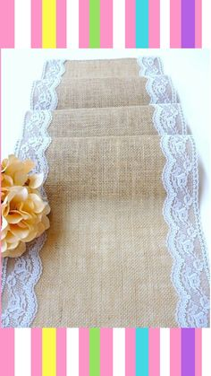 Burlap and lace table runner Wedding table runner rustic wedding table linens country wedding table decor , handmade in the USA #ad