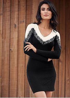 lace detail sweater dress