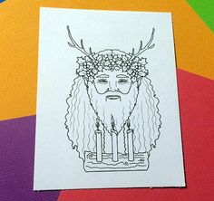 Father Christmas Yule King Stag Pagan Holidays PNG JPG by FaeryInk