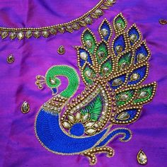 Rithu Aari Crafts Services to Bridal Aari Work, Hand Embroidery Bridal Blouse design, Sarees, Chudithar and Kids Pattu Pavadai in Tambaram, Chennai Peacock Blouse Designs, Peacock Embroidery Designs, Kids Blouse Designs, Simple Blouse Designs, Peacock Design, Aari Embroidery, Embroidery Works, Border Embroidery, Embroidery Patterns