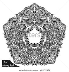 Henna tattoo mandala in mehndi style. Pattern for coloring book. Hand drawn…