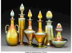 Six Steuben Gold Aurene Glass Perfume Bottles Inscribed Aurene, (various) Ht. - Available at 2019 May 14 Tiffany, Lalique &. Steuben Glass, Antique Shelves, Art Terms, Crystal Glassware, American Indian Art, Vintage Perfume Bottles, Casket, Art Auction, Glass Bottles