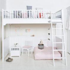 Oliver Furniture Hochbett / Loft Bett KIDS, weiß, 90x200cm, 176cm Höhe
