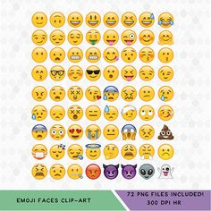 Set of 72 Classic Emoji Faces. All in PNG Files with Transparent Backgrounds!  Size = 8x8 What you will get with this Purchase:  >> An Instant Download file directly after your purchase. >> A Zip File including individual transparent PNG Files  For personal and COMMERCIAL USE! No strings attached! For this set of character clipart, no copyright infringement is intended. I do not own the original characters. Our clip art and digital cut files can be used for anything, any purp...