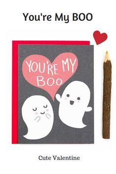 Cute Valentine Card, Your My Boo, Ghost Love Card, Funny Card, Funny Valentine's Day Card, Boyfriend, Punny Love Card, Card for Partner, #promo