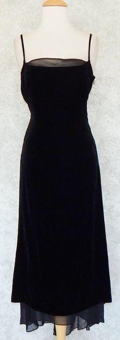 BCBG MAX AZRIA Long Black Silk Trim Velvet Evening Gown Dress Low Back Holiday 6 #BCBGMAXAZRIA #SlipDress #Formal