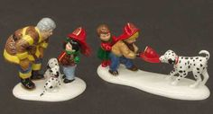 Department 56 Snow Village Fun At The Firehouse-Set Of 2 - With Box