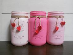 Valentine's Day Painted and Distressed Mason Jars - Pink Hombre