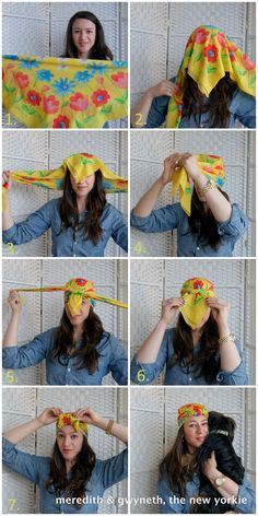 'Bout That Turban Life! Let's hear it for Fall Trends: How to tie a turban with a silk scarfhow to tie a turban with a silk scarf, definitely need this on beach days and days I don't feel like washing my hair.How to Tie a Turban. Turban Mode, Tie A Turban, Head Turban, Turban Headbands, Tie A Bandana, Bandana On Head, How To Wear Bandana, Hair Scarf Styles, Curly Hair Styles