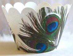 @KatieSheaDesign Likes--> ❀ #Cupcake #Wrapper  ❀ peacock cupcake wrappers!
