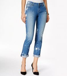 Kut From the Kloth Catherine Paint Splatter Resurgance Wash Boyfriend Jeans