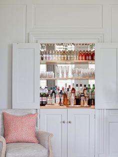 Home Bar Cabinet, Drinks Cabinet, Diy Kitchen Storage, Living Room Storage, Bar Interior, Interior Design, Alcove Storage, Home Bar Rooms, Snug Room