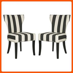 """Safavieh Mercer Collection Jappic Black & White Stripe Side Chair (Set of 2), 22"""" - Improve your home (*Amazon Partner-Link)"""
