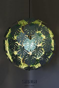 Tropical Monstera leaves on your pendant chandelier in colour you choose!This paper boho lampshade can be a wonderful tropical accent to your living room.Whether you are looking for a unique Christmas gift or anniversary gift this wooden lamp will be a delight.