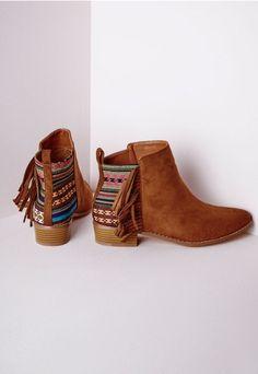 Bottines navajo à franges marron - Chaussures - Bottes - Missguided