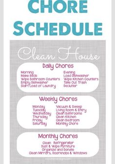 Chore Schedule- A Clean House