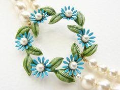 Tiffany Blue wedding necklace vintage flower brooch by soradesigns, $124.50