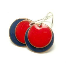 Colorful Circles   enamel earrings blue and red by SunflowerBijou, $30.00