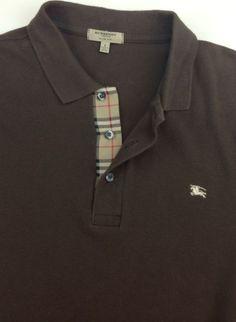 Burberry Polo Mens Shirt Size Sz Large Nova Check Plaid Authentic | eBay
