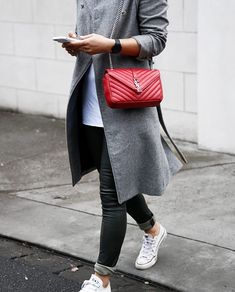 Grey trench with skinny jeans, converse and red YSL college bag See More At www.HerFashionedLife.com