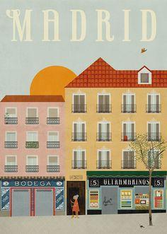 Madrid travel poster