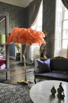 Ostrich feather lamp