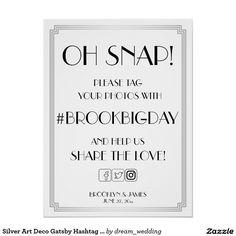 Silver Art Deco Gatsby Hashtag Sign 18x24