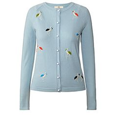 Flamingo Embroidery Cardigan Cloud