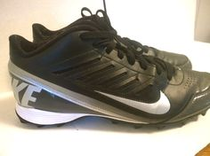Nike Land Shark Black White Swoosh Mens size 13 Football Cleats 511292-009 #Nike