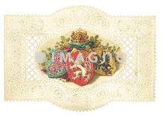 Balleinladungskarte mit den Wappen von Böhmen, Mähren und Schlesien. Farblithographie auf geprägtem und gestanztem Billet. 1913.