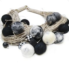 Jewlery Linen Necklace- Felted -Eco Frendly-Modern - White - Black.via Etsy.