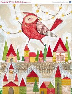 ON SALE christmas art - bird art - retro - folk painting - watercolor,  8 x 10 limited edition and archival print by cori dantini