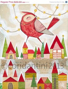 ON SALE christmas art - bird art - retro - folk painting - watercolor,  8 x 10 limited edition and archival print by cori dantini