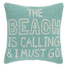 Peking Handicraft Beach Calling Hook Wool Throw Pillow