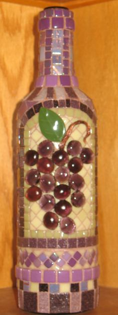 So pretty!!!  I love the grapes. MOSAIC GRAPES WINE Bottle