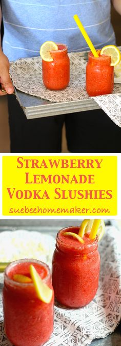 Fresh strawberries and lemons, combined with vodka, ice, and a little bit of sugar make these Strawberry Lemonade Vodka Slushies the hit of the party!