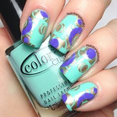 Tiffany Blue, Purple, and Gold Nails