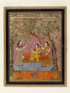 Bahuli Ragini. Opaque watercolour on paper, probably Delhi, probably ca. 1800, based on ca. 1570-1580 Ahmednagar original, a lady seated on a couch attended by a maid waving a facecloth receives her confidante