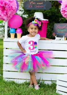 Ice Cream Party Jasmyn Birthday Tutu Outfit Ice by TickleMyTutu