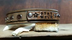 Leather Cuff Stay Wild Riveted Bracelet by LeatherVision on Etsy