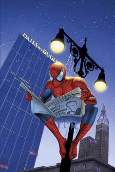 Not sure why the like, swirlys by his butt, but I would hang from a lamp post and read the Daily Bugle if I were Spiderman too lol.