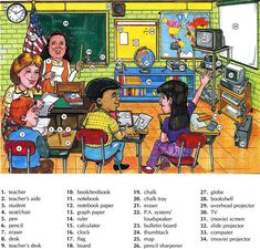 Learning the vocabulary for things you might find in a classroom supplies
