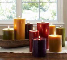 Pottery Barn Rustic Luxe Pillar Candles - beautiful colors for fall.