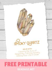 Smoky Quartz Free Printable Gemstone Properties Card #gemstones #crystals